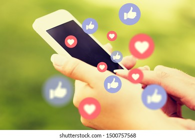 Young man using smart phone,Social media concept.          - Image