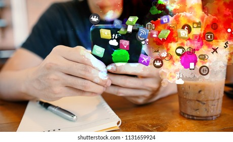 Young man using smartphone connecting, Social media concept.