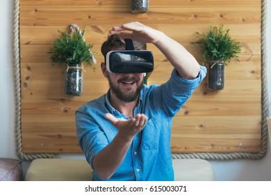 Young man using virtual reality  headsets