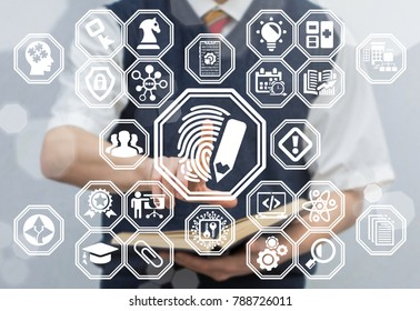 Young man using virtual touchscreen pressing fingerprint pencil button. Secure Educational Learning Technology concept. Security API Development - Science and Education.