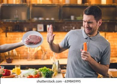 Young Man Vegan No Meat Healthy Choice