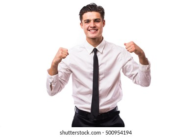 Young man with victory gesture and emotions on white