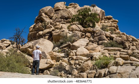 Young man viewing a large rock formation in the Joshua Tree National Park, California