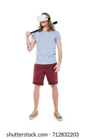 young man in virtual reality headset holding baseball bat isolated on white