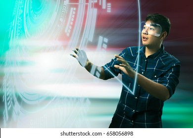 Young man with vr Virtual reality