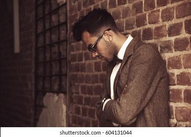 Young man waiting  (Psychology, body language, gestures)