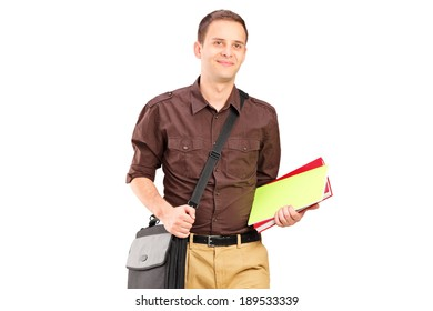 Young man walking with books isolated on white background