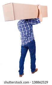 Young man walking with card box, isolated on white