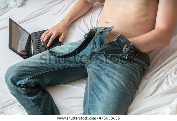 Young Man Watching Pornography On Laptop Stock Photo (Edit