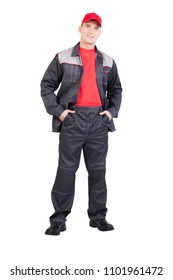Young man wear new uniform - jacket, trousers, red shirt and cap  isolated on white background. full lenght