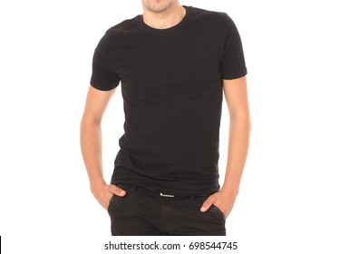 088ea394d0b6 Young man wearing blank black t-shirt isolated on white background. Copy  space.