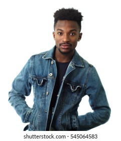 young man wearing blue jeans in studio white background