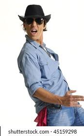 young man wearing cowboy posing