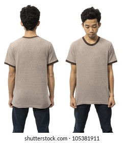 Young man wearing empty shirt, you can put your design on the shirt