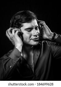 Young man wearing headphones