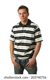 Young man wearing a stripped shirt isolated on white