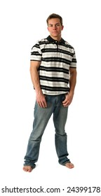 Young man wearing a stripped t-shirt isolated on white