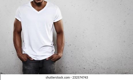 Young man wearing white t-shirt