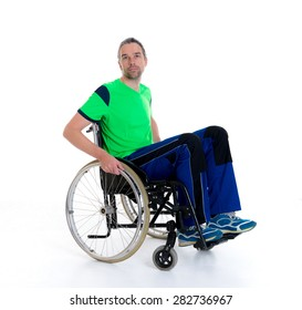 young man in a wheelchair in front of white background