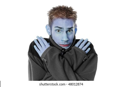 Young man white adult male crosses his arms and shivers with his turtleck sweater isolated on white background.