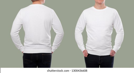 young man in white sweatshirt, white hoodies front and rear isolated on white background. mock up