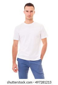Young man in a white t shirt on white background