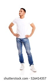 Young man in white T-shirt
