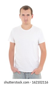 young man in white t-shirt isolated on white