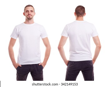 Young man in white t-shirt on white background