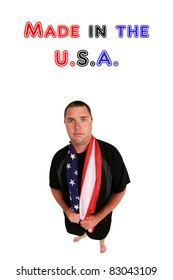 a young man who is proud to be an american, isolated on white. image shot with a fisheye lens for a nice distorted view. room for your text
