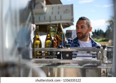 young man wine maker working filling wine bottle with automatic bottling machine