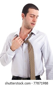 Young man without air conditioner sweating isolated on white