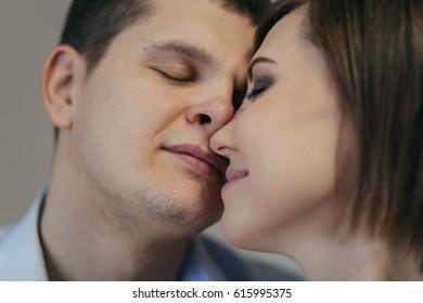 Young man and woman closeup