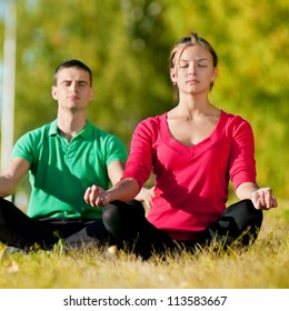 Young man and woman woman doing yoga in the sunny summer park