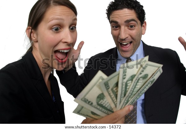 young man and woman holding cash