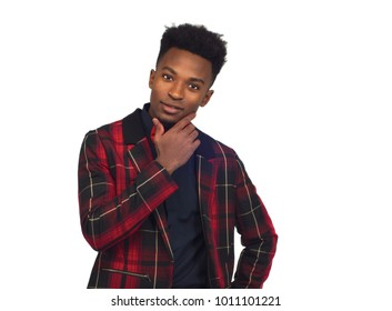 young man wondering plaid jacket bow tie white background