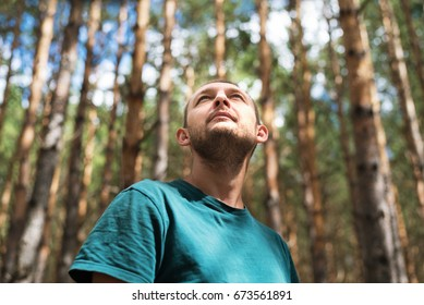 Young man in the woods looking up