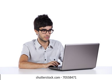 young man working with his laptop computer