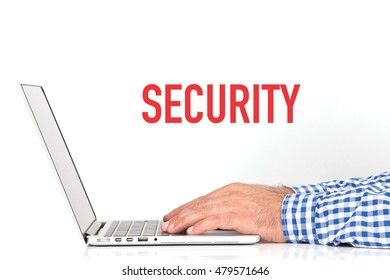Young man working on desk and  SECURITY concept on white background