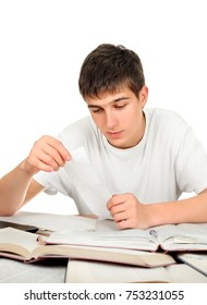 Young Man working on the Desk on the White Background