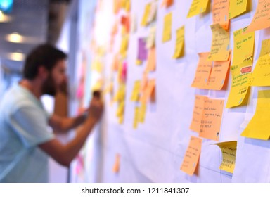 Young man working on Kanban board which is a type of agile development methodology. This picture is taken on 10/15/2018 in Istanbul, Turkey