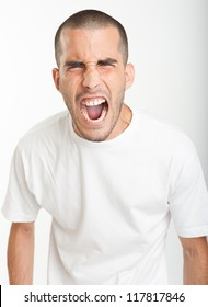 Young man yelling
