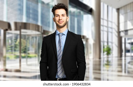 Young manager in a luxury modern open space business center