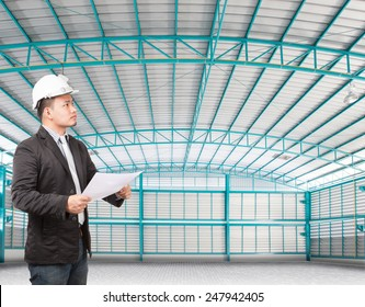 young manager man working in side of empty  warehouse use for industry background and multipurpose