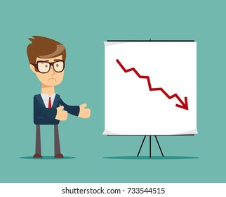 Young manager presenting whiteboard to his colleagues about financial risk. Stock flat illustration.
