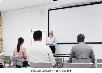 Young manager standing by a flip chart in an office meeting room giving a presentation to a diverse group of staff