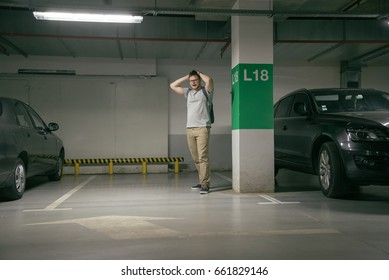 young man's car was stolen, can't find car at underground parking