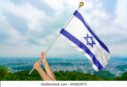Young man's hands proudly waving the Israel national flag in the sky, part 3D rendering