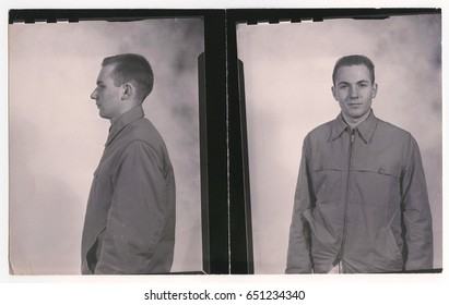 Young man's identification photos, front and side profiles - vintage