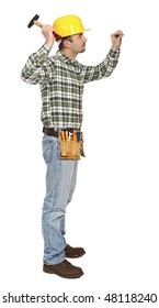 young manual worker with hammer and nail isolated on white